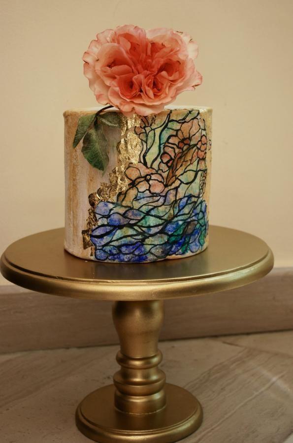 David Austin stain glass cake by cannellechezheba