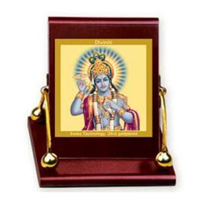 Diviniti God Vishnu car frames.  The god vishnu car frames from the house of Diviniti in this royal car frame. This is bright, compact in shape and auspicious in outlook to all those in the car and those who pass their view over it. Link: http://diviniti.co.in/en/lord-vishnu-god-vishnu-13
