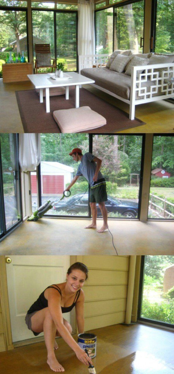 49 Brilliant Garage Organization Tips, Ideas and DIY Projects STAINING THE CONCRETE FLOOR LAUNDARY ROOM OR GARAGE ........HA ....