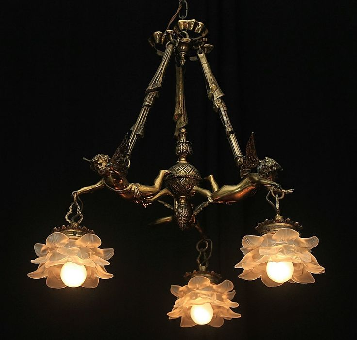 Vintage Bronze French Shabby Flying Chic Cherub Chandelier