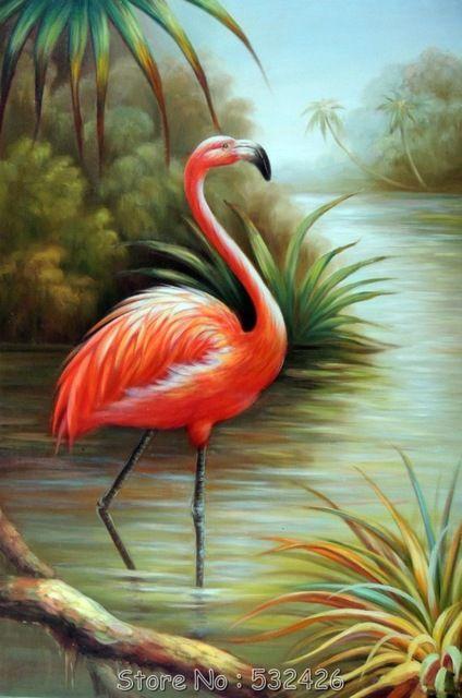 Flamingo flórida Everglades pântano Reeds 24 X 36 pintado à mão pintura a óleo sobre tela animais arte decoração grátis frete