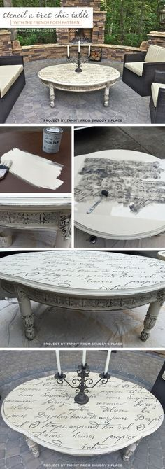 Cutting Edge Stencils shares a DIY outdoor stenciled table using the French Poem Allover Stencil. http://www.cuttingedgestencils.com/french-poem-typography-letter-stencil.html