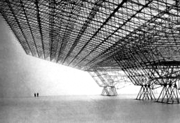 Konrad Wachsmann, airplane hangar, United States, early-1950s. Wachsmann invented the steel space-frame, including the complex joints making it feasible.