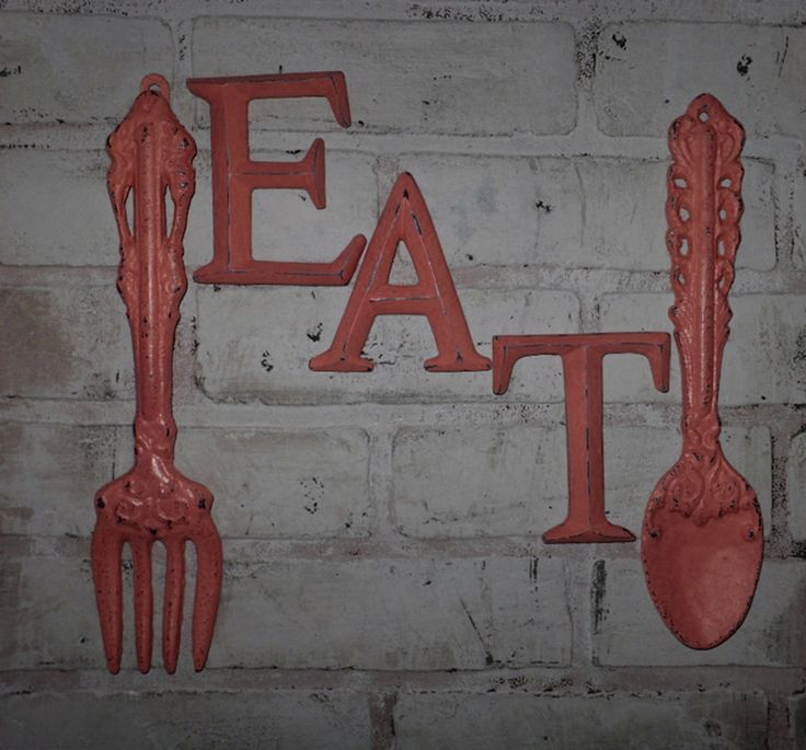 Kitchen Wall Decor / Coral / Fork And Spoon Decor / EAT Sign/ Wall Word