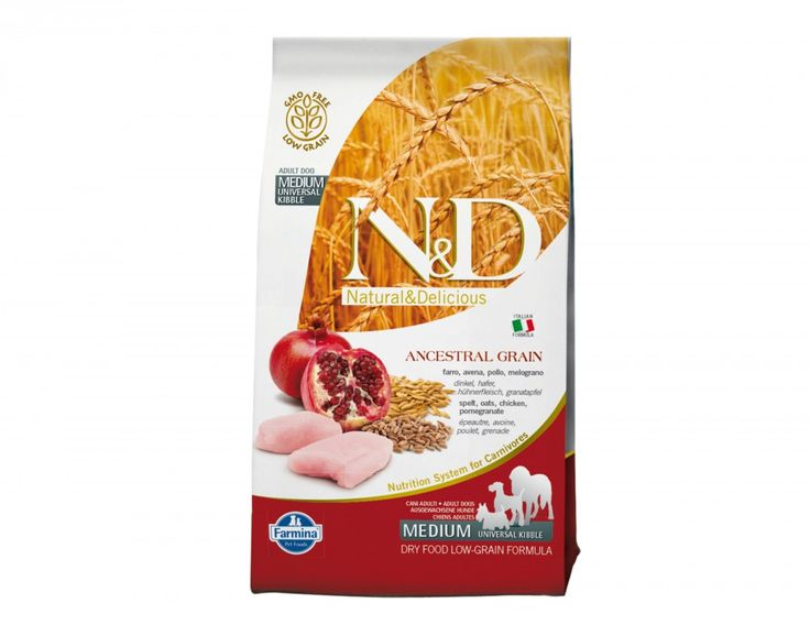 Shop #NaturalandDelicious Low Grain Chicken and Pomegranate Adult Medium #DogDryFoods online at #Petwish.in available with home delivery across in India.