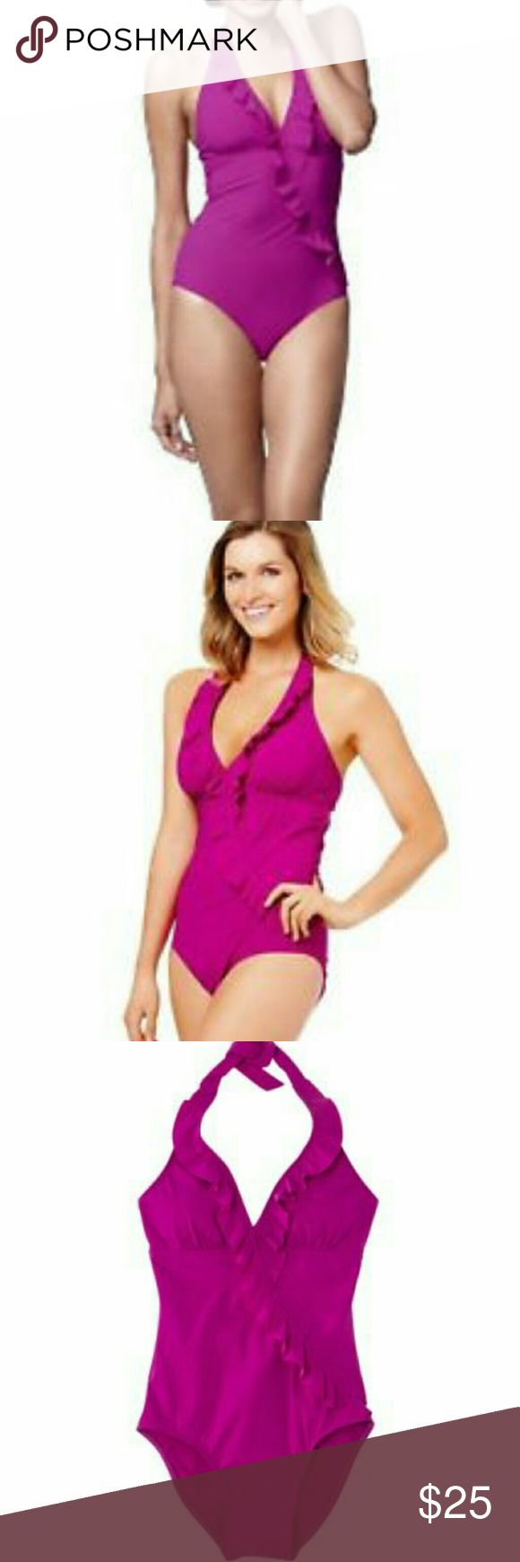 Assets by Spanx Ruffle Halter Style Swimsuit Fabulous swimsuit! Perfect for holding you in, in all the right places! Excellent condition! Has never been worn! Features:   • Halter style that ties in the back of neck  • Ruffle V-Neckline   • Full butt coverage  • Fully lined with power mesh for all around slimming  • Assets by Sara Blakely, Spanx Assets By Spanx Swim One Pieces