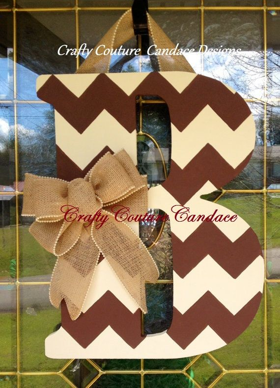 Chevron Monogram Door Hanger with Burlap Bow & 25+ unique Monogram door decor ideas on Pinterest | Monogram door ... pezcame.com