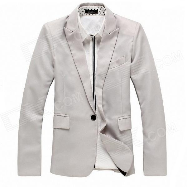 England Style Men's Slim Fit Suit for Spring - Light Gray #Men'sSlimSuit