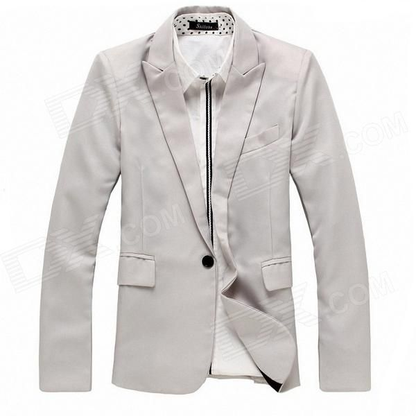 England Style Men's Slim Fit Suit for Spring - Light Gray #Men'sSlimSuit