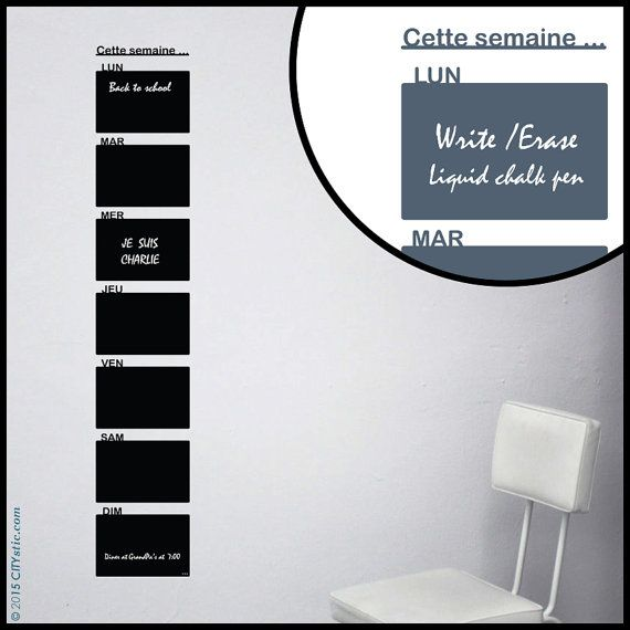 CALENDAR WALL DECAL : Tall Week Planner Liquid chalk Pen Schedule planning decal 7 days in French and in Height