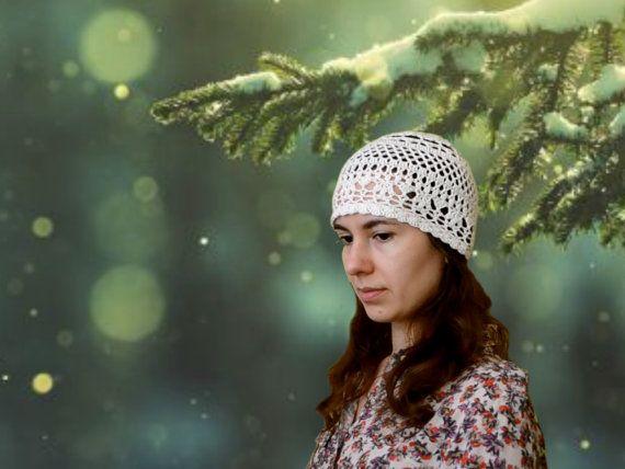 Ecru Women's Hat - Retro Story #Lace Crochet Beanie Hat - Cotton #Beanie #ItWasYarn