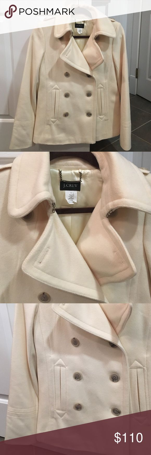 J. Crew cream wool peacoat NWOT J. Crew creaam colored wool peacoat size small. This is few years old and has been stored in a cedar closet. I just forgot I had it. J. Crew Jackets & Coats Pea Coats