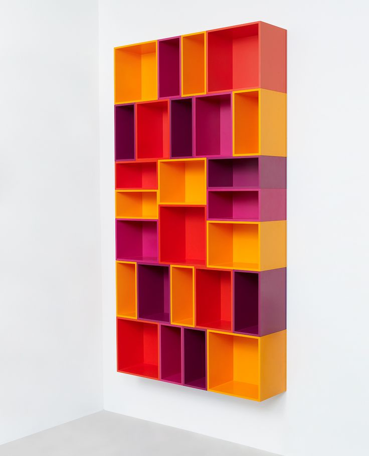 Vertical Cubit Shelf Configuration in Red, Orange, Yellow and Purple