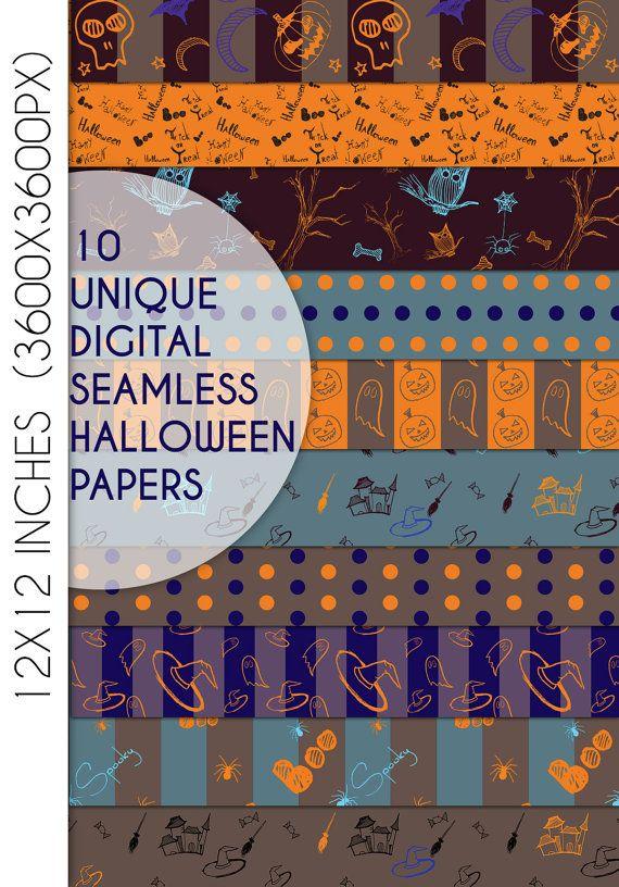 Halloween Digital Paper Pack, Halloween Scrapbook Paper, Seamless pattern…