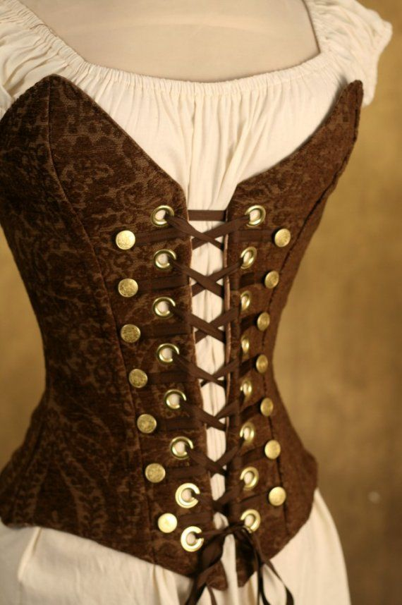Brown Steampunk style corset. I think SueAnne and I would both *rock* this.