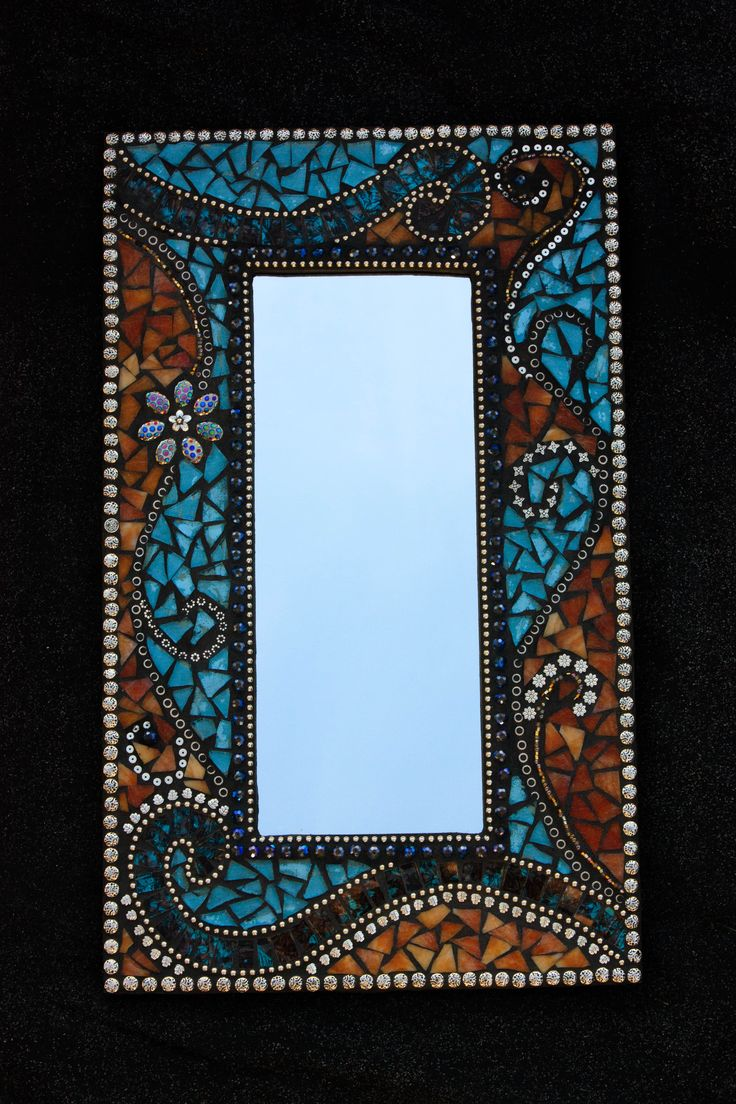 Blue and Brown mosaic mirror.