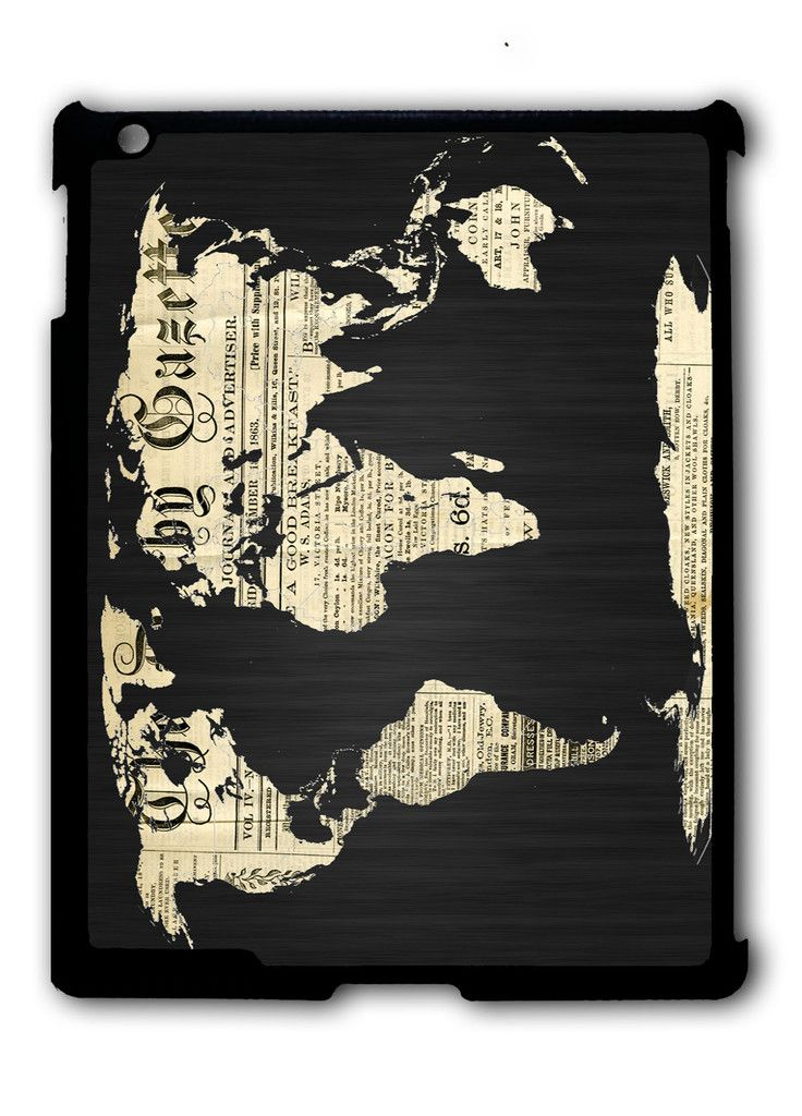 World Map Old Newspaper Ipad Case, Available For Ipad 2, Ipad 3, Ipad 4 , Ipad Mini And Ipad Air