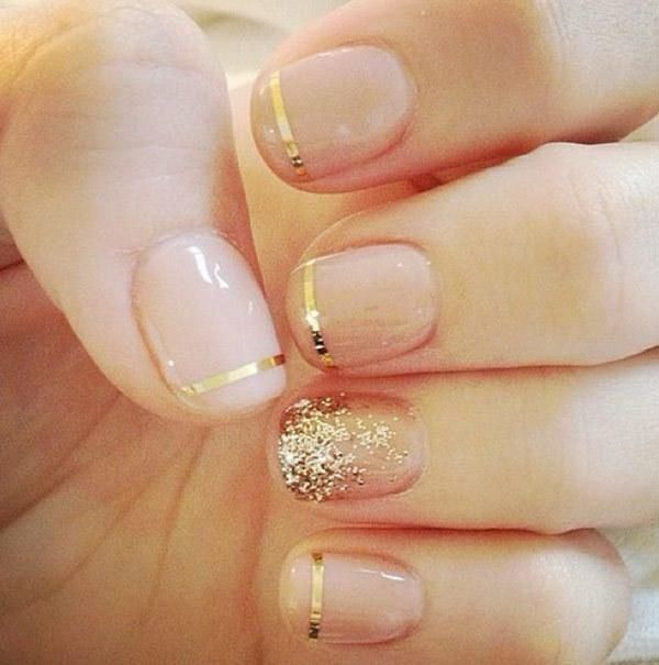 A nude manicure with gold accent lines and glitter for a glam bride on her wedding day. Nail Design, Nail Art, Nail Salon, Irvine, Newport Beach