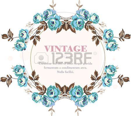 Vintage style shabby roses vector frame