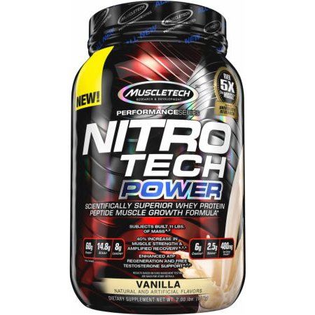 MuscleTech Performance Series Nitro Tech Power Whey Protein Supercharged Supplement Powder, French Vanilla Swirl 2lbs, Blue