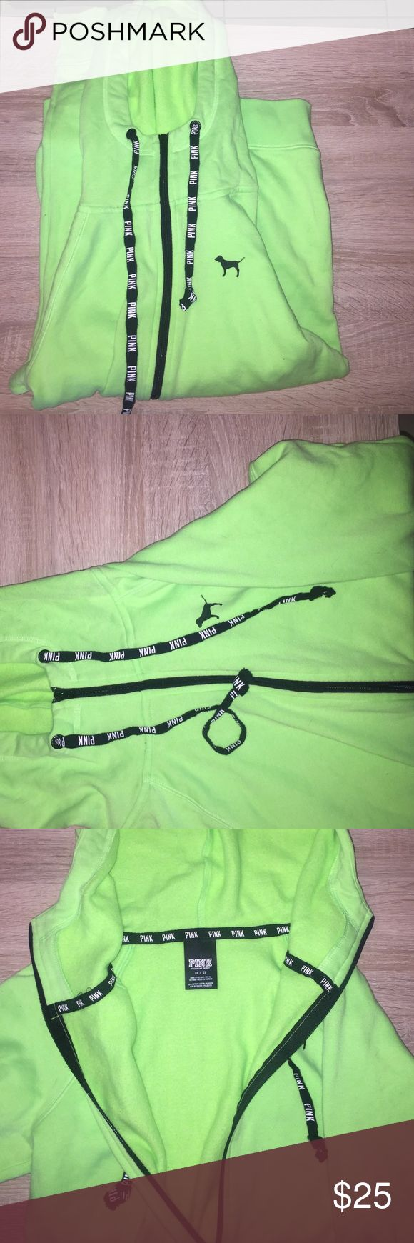 VICTORIA SECRET lime green zip up hoodie Like green zip up hoodie with black zipper, worn once, very soft inside PINK Victoria's Secret Other