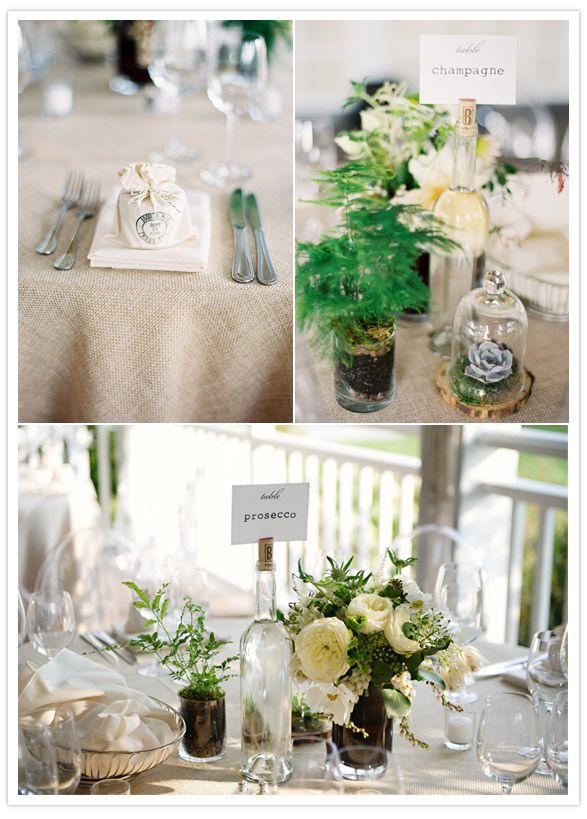 terrarium/plant-y decor: Tables Names, Bottle Center, Ideas Not, Vineyard Wedding, Tables Numbers, Wine Bottles, Centerpieces, Tables Arrangements, Table Numbers