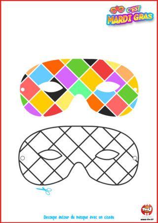 Tu seras au top avec ce superbe masque d'arlequin pour le Carnaval ? Imprime-le vite, découpe-le et colorie-le de mille couleur ! Ce sera un très beau déguisement.