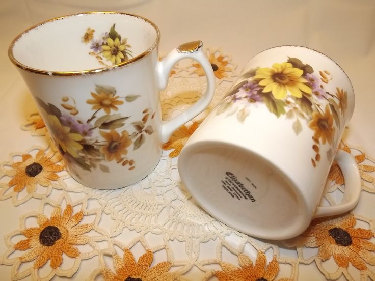 Vintage Floral Elizabethan Staffordshire Hand Decorated Fine Bone China Mugs from England Coffee or Tea for Two Marvelous! (19.99 CAD) by OutrageousVintagious