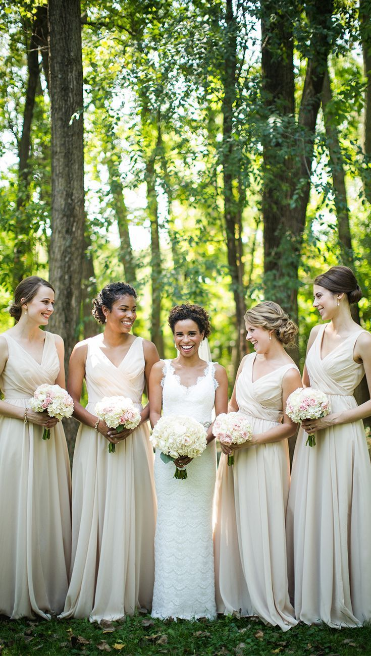 22 best champagne weddings images on pinterest marriage blue a beautiful and flattering long chiffon bridesmaid dress in champagne photo by brian bossany photography ombrellifo Gallery