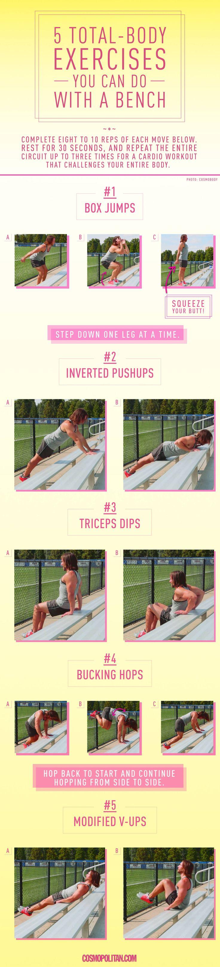 5 Total-Body Exercises You Can Do on a Bench  - Cosmopolitan.com