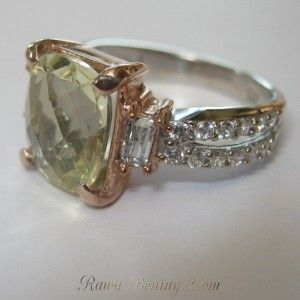 Silver Green Amethsyt Ladies Ring 7US