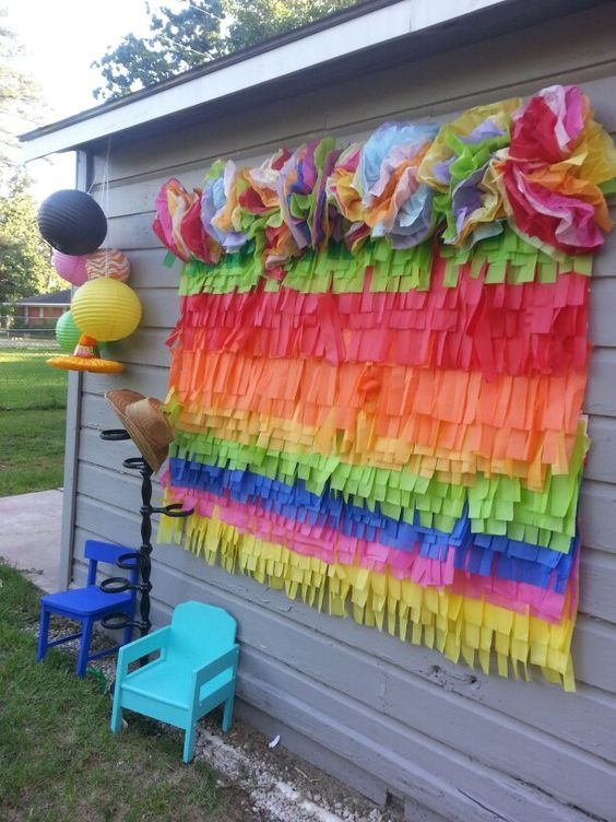 Tissue Paper Backdrop | DIY Cinco de Mayo Party Ideas for Adults | Easy Fiesta Party Ideas for Kids Mexican