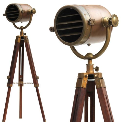 Bella-lampada-da-terra-autentico-faro-moderno-telescopio-in-legno-arredamento-ca