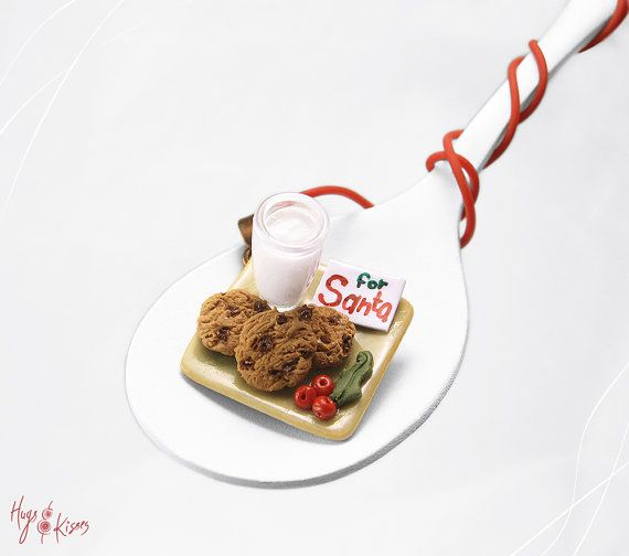 Christmas Santa's Milk & Cookies Necklace, Christmas Necklace, Miniature Food Jewelry