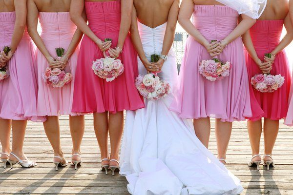 Love the different colored bridesmaid dresses.Pictures Ideas, Dresses Wedding, Cherries Blossoms, Wedding Bridesmaid Dresses, Wedding Dressses, Photos Ideas, Pink Bridesmaid Dresses, Inspiration Boards, Colors Schemes