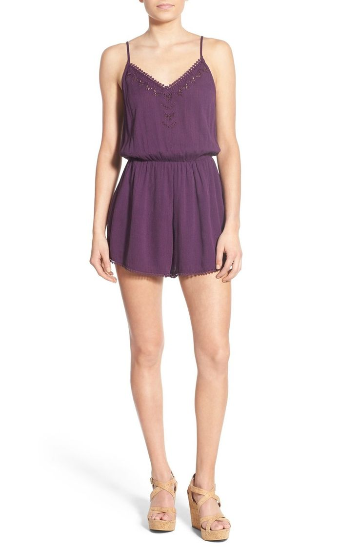 Free shipping and returns on Lush 'Cali' Lace Trim Romper at Nordstrom.com. Demure lace traces the hem and V-neckline of a gauzy romper finished with geometric embroidered die cuts and an elastic waist for feminine definition.