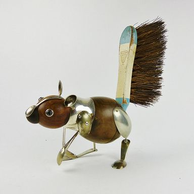 Squirrel by Dean Patman. Assembles sculptures of animals out of objects