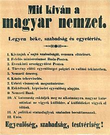 1848-as magyar forradalom 12 pontja.