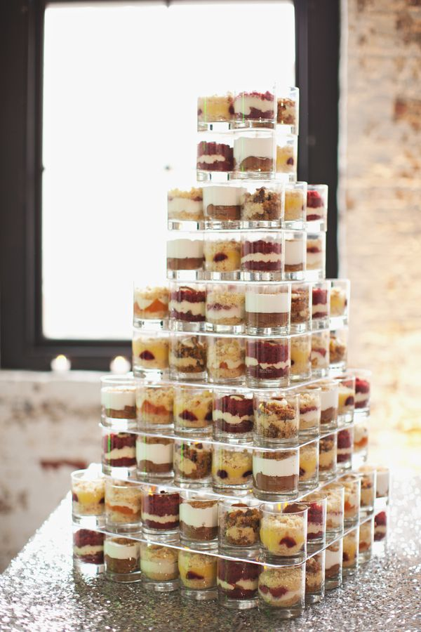 A stack of jars filled with individual treats! Great alternative for a wedding cake!