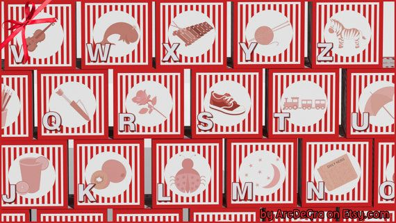 Digital baby ABC blocks Red Printable alphabet blocks by ArcDeGra