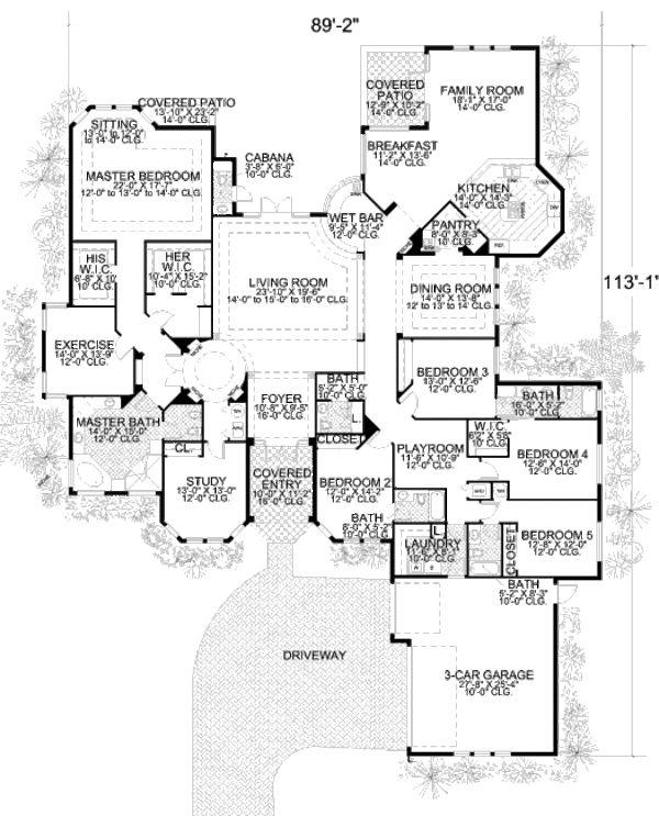 Mediterranean Style House Plan - 5 Beds 4.5 Baths 5131 Sq/Ft Plan #420-124 Floor Plan - Main Floor Plan - Houseplans.com