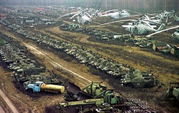 A graveyard for vehicles highly contaminated by radiation, near the Chernobyl nuclear power plant, seen on November 10, 2000. Description from pinterest.com. I searched for this on bing.com/images