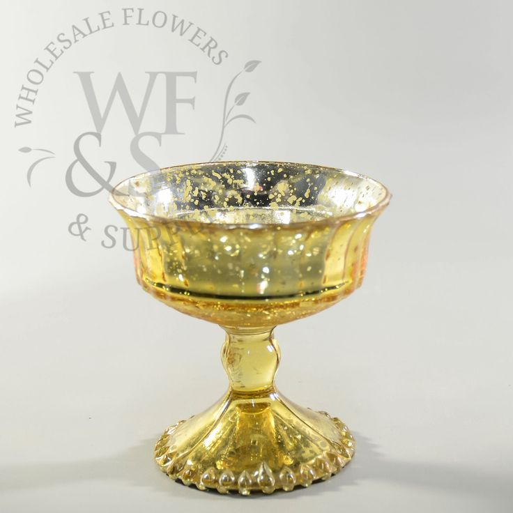 """Glass Pedestal Vase Gold 4.8"""" - Wholesale Flowers and Supplies"""