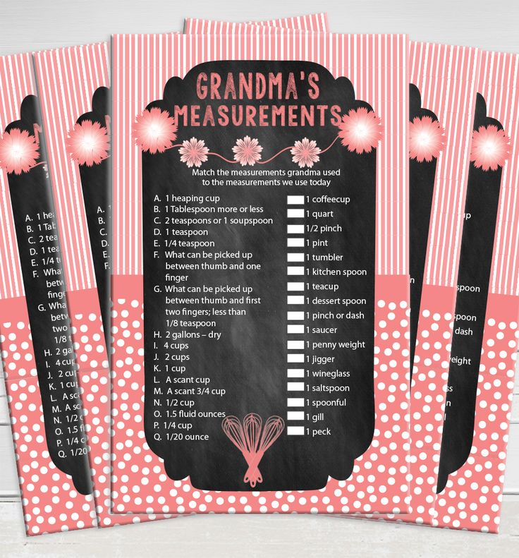 couples bridal shower games free%0A Grandma u    s Measurements bridal shower game for kitchen themed showers