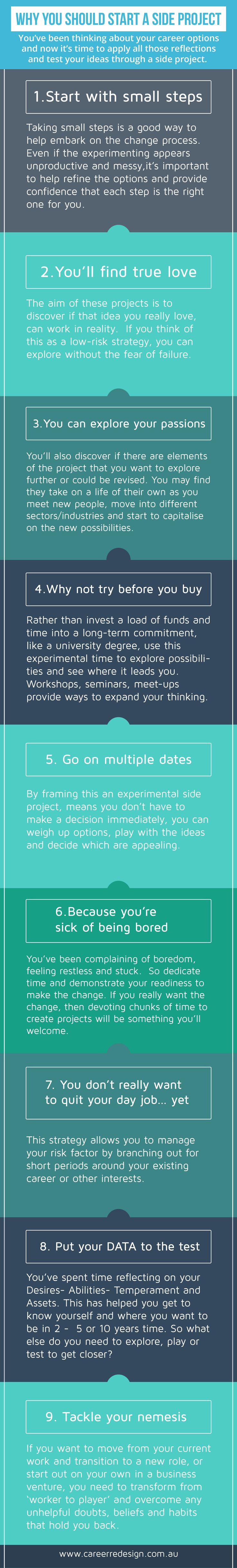 Side Projects are a great way to explore your career options. Feel free to download and share this poster.... be inspired and stay inspired!