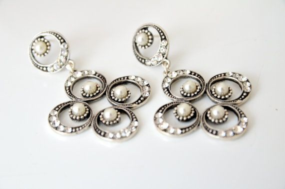 art deco clear crystal rhinestone pearl victorian style by sestras