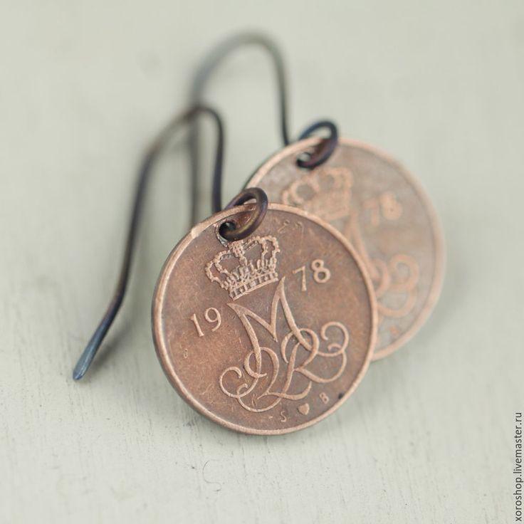 Купить серьги из датских монет 1976 года - винтаж, монета, круглые серьги, патина