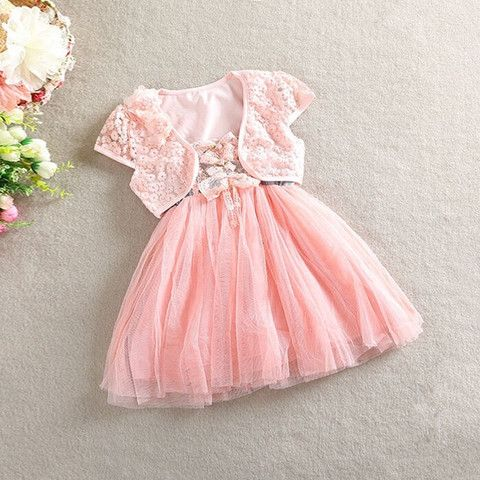 Baby Doll Dress with Bolero. $22.50 + Postage. Available in White and Pink. Sizes 6m-4y. #weddingdress #flowergirls #partydress