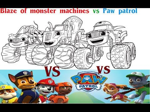 Liked on YouTube: Battle changing color Of Blaze and The Monster Machines VS PAW Patrol Full Episodes - Race Car Super