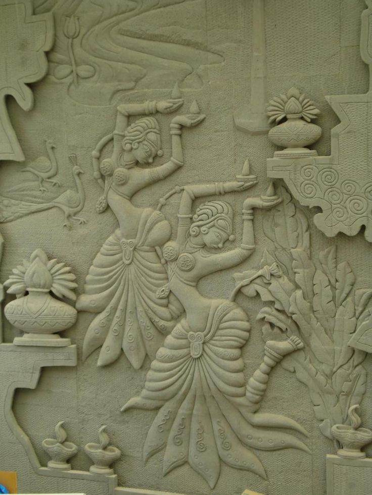 Cool mural art sculpting carving india sculpture with for Clay mural making